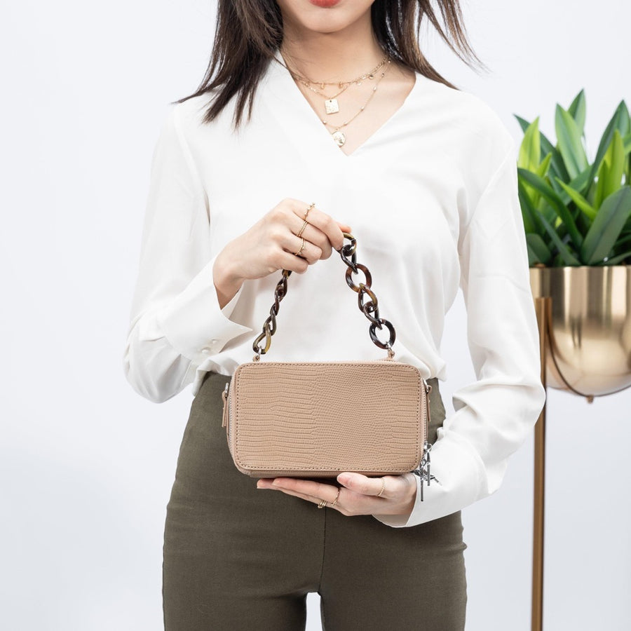 Melie Bianco Luxury Vegan Leather Demi Top Handle Bag in Taupe