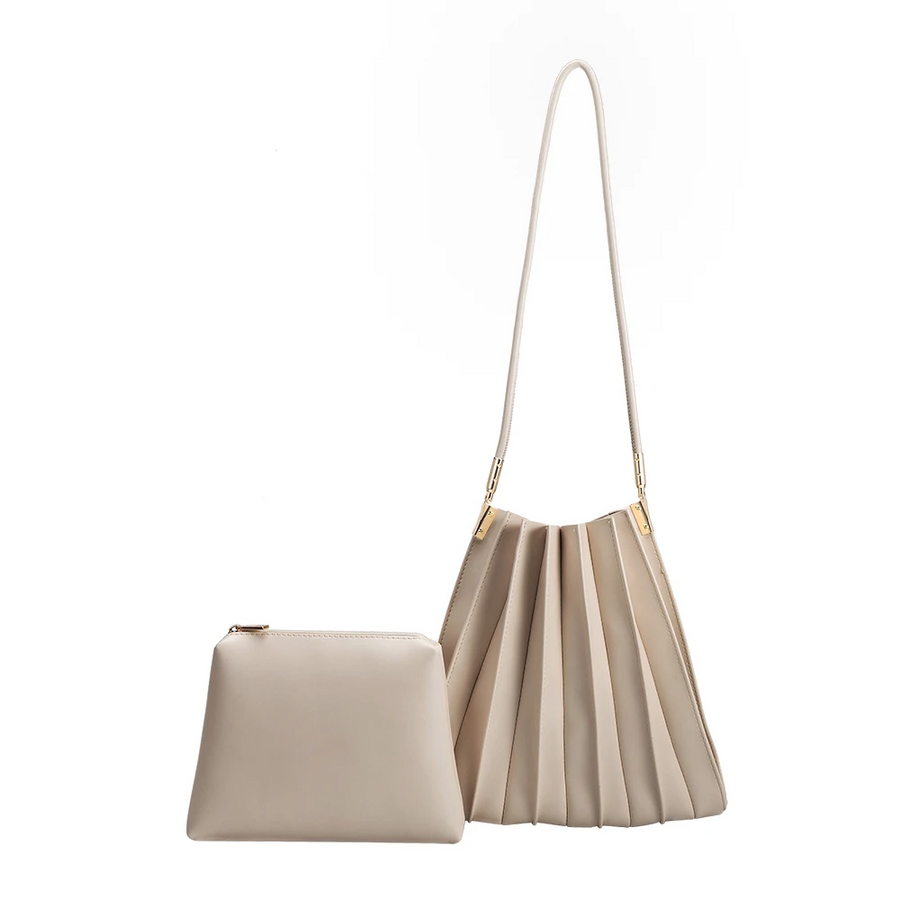 Melie Bianco Carrie Pleated Luxury Vegan Leather Shoulder Bag in Bone