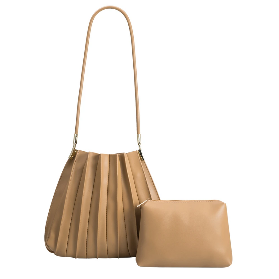 Melie Bianco Carrie Pleated Luxury Vegan Leather Shoulder Bag in Taupe