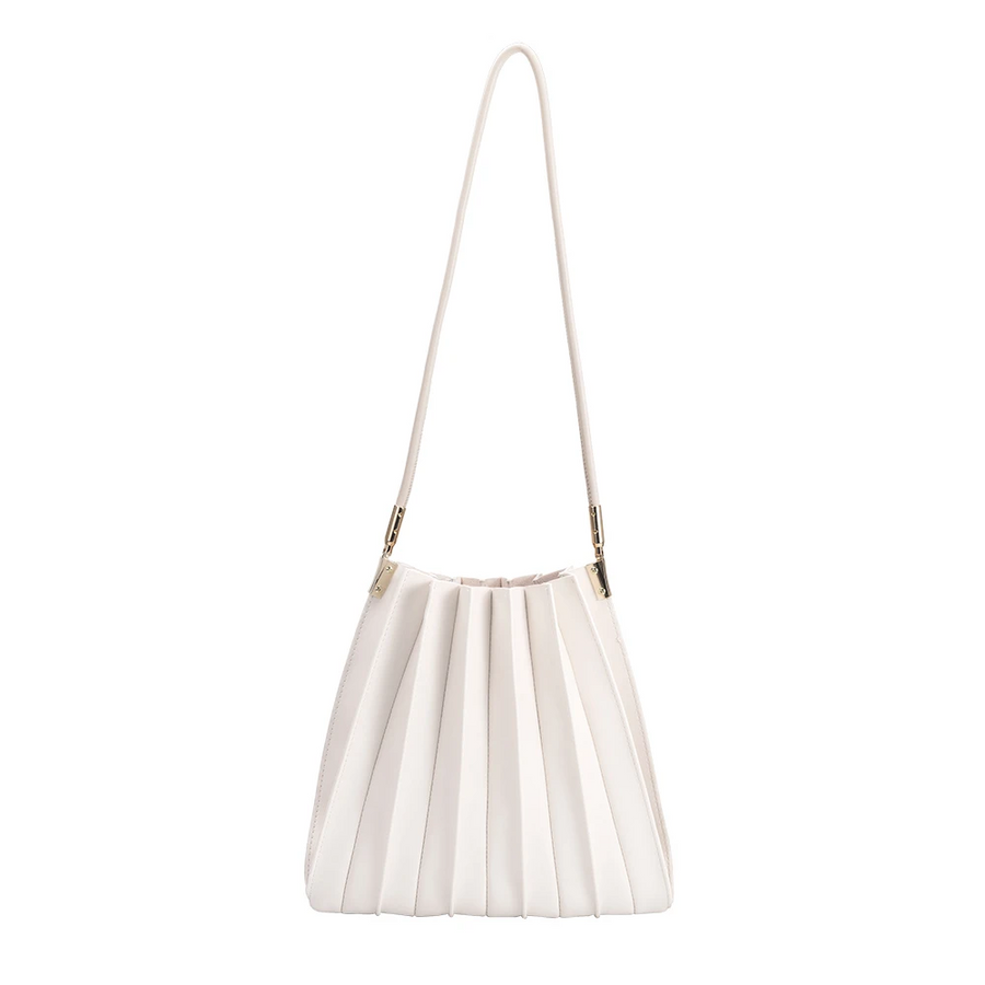 Melie Bianco Carrie Pleated Luxury Vegan Leather Shoulder Bag in Ivory