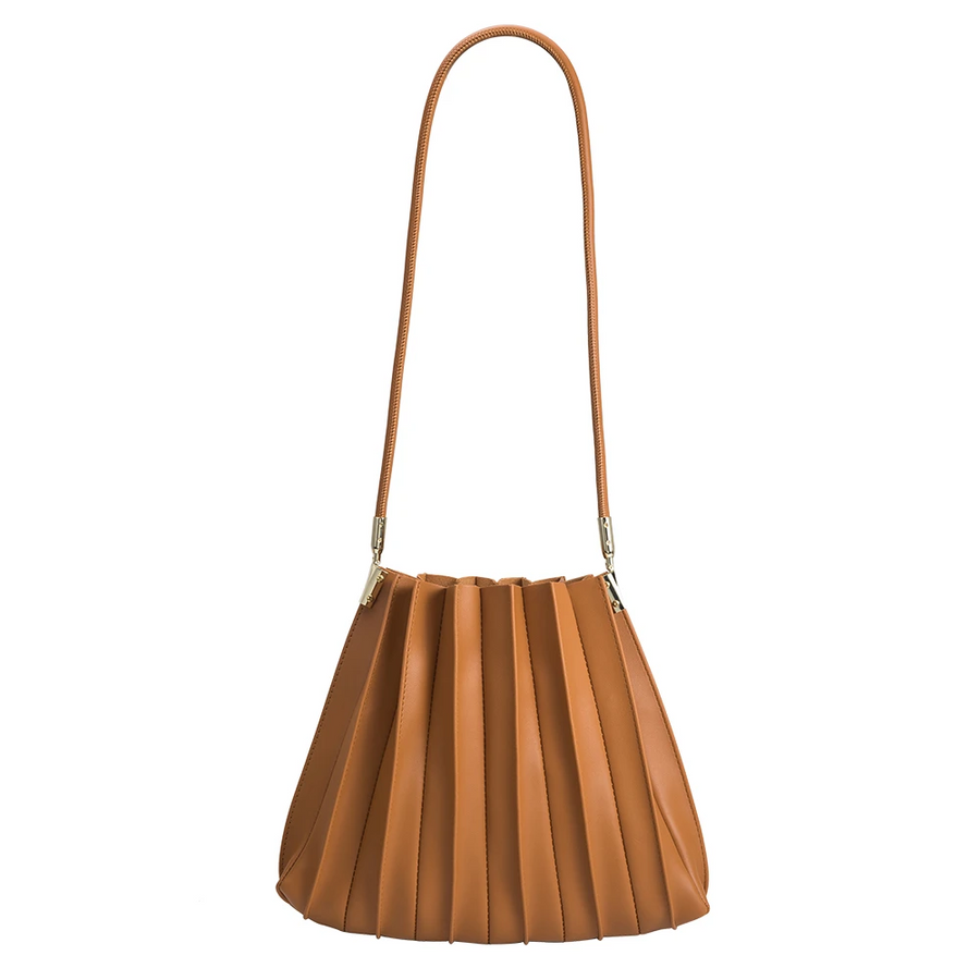 Melie Bianco Carrie Pleated Luxury Vegan Leather Shoulder Bag in Tan