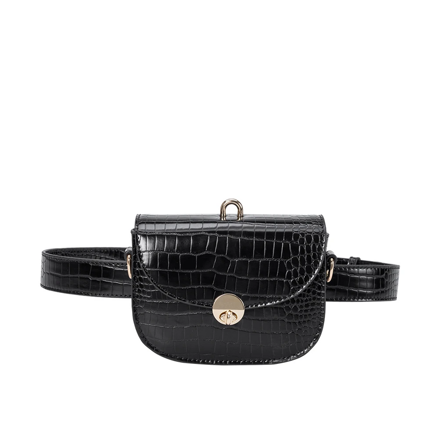 Melie Bianco Keaton Luxury Vegan Leather Belt Bag in Black