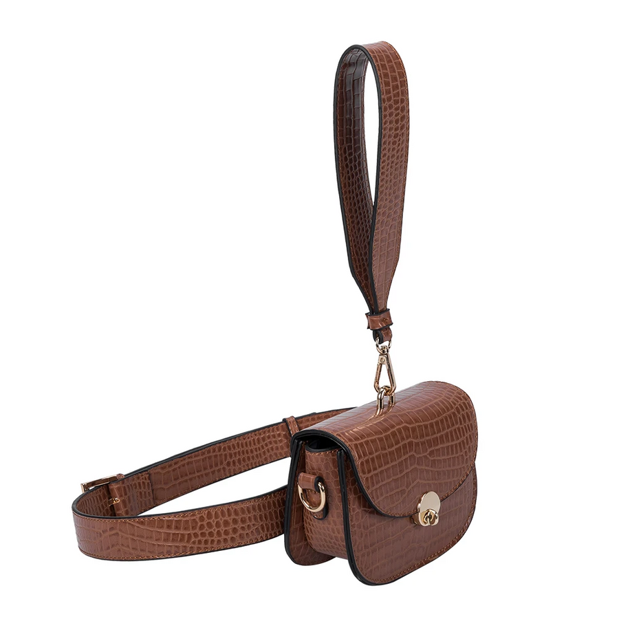 Melie Bianco Keaton Luxury Vegan Leather Belt Bag in Saddle