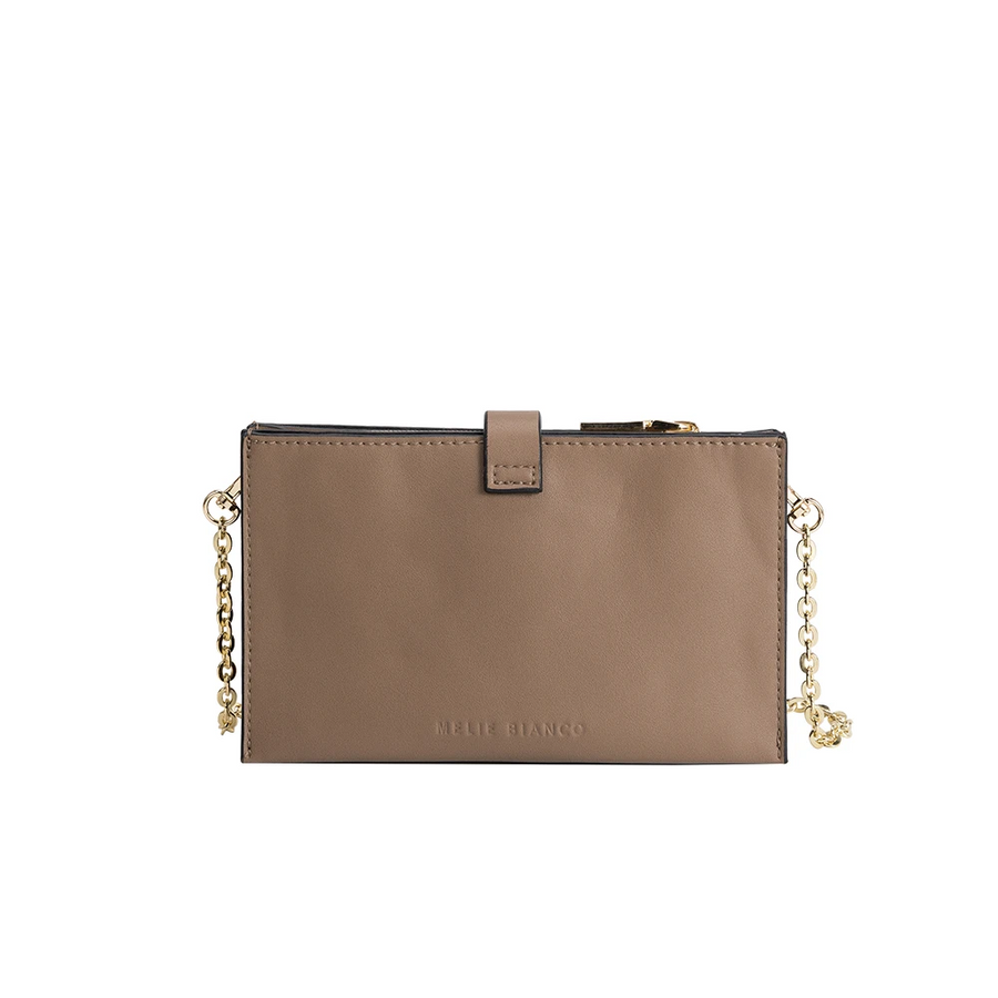 Melie Bianco Alicia Luxury Vegan Leather Crossbody Wristlet in Taupe