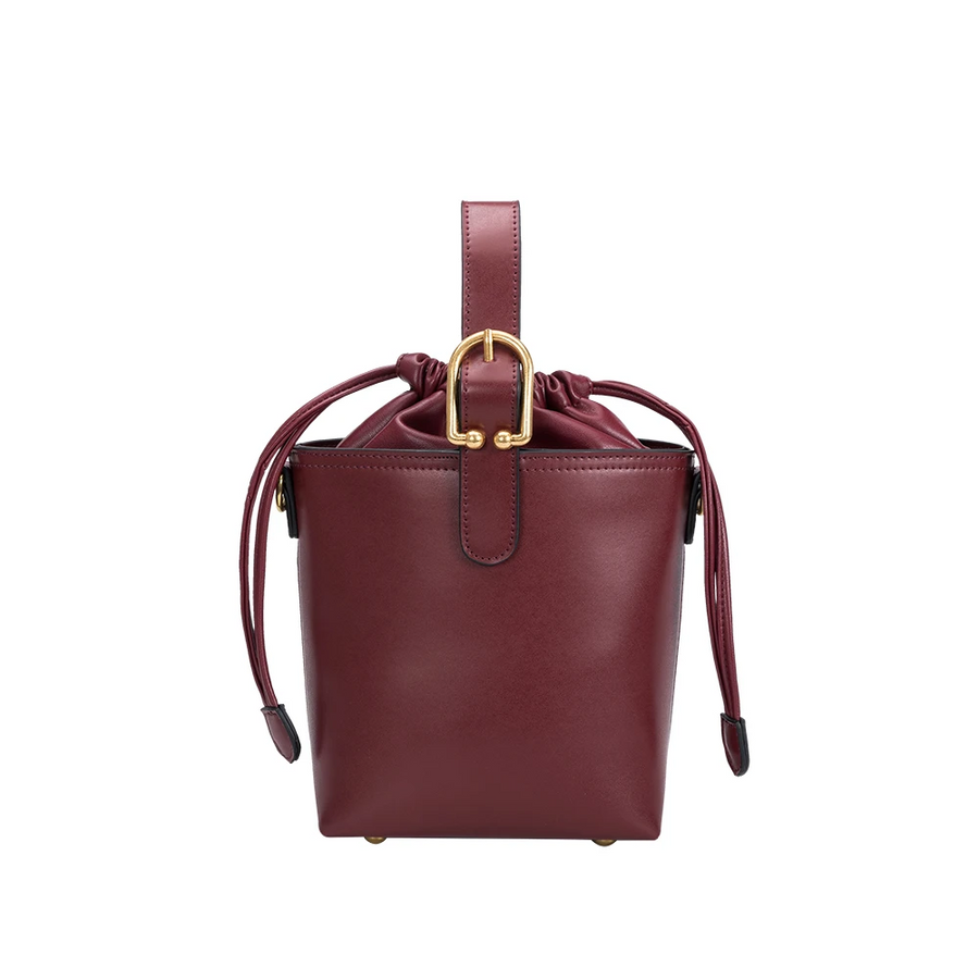 Melie Bianco Alexis Luxury Vegan Leather Crossbody Bucket Bag in Burgundy
