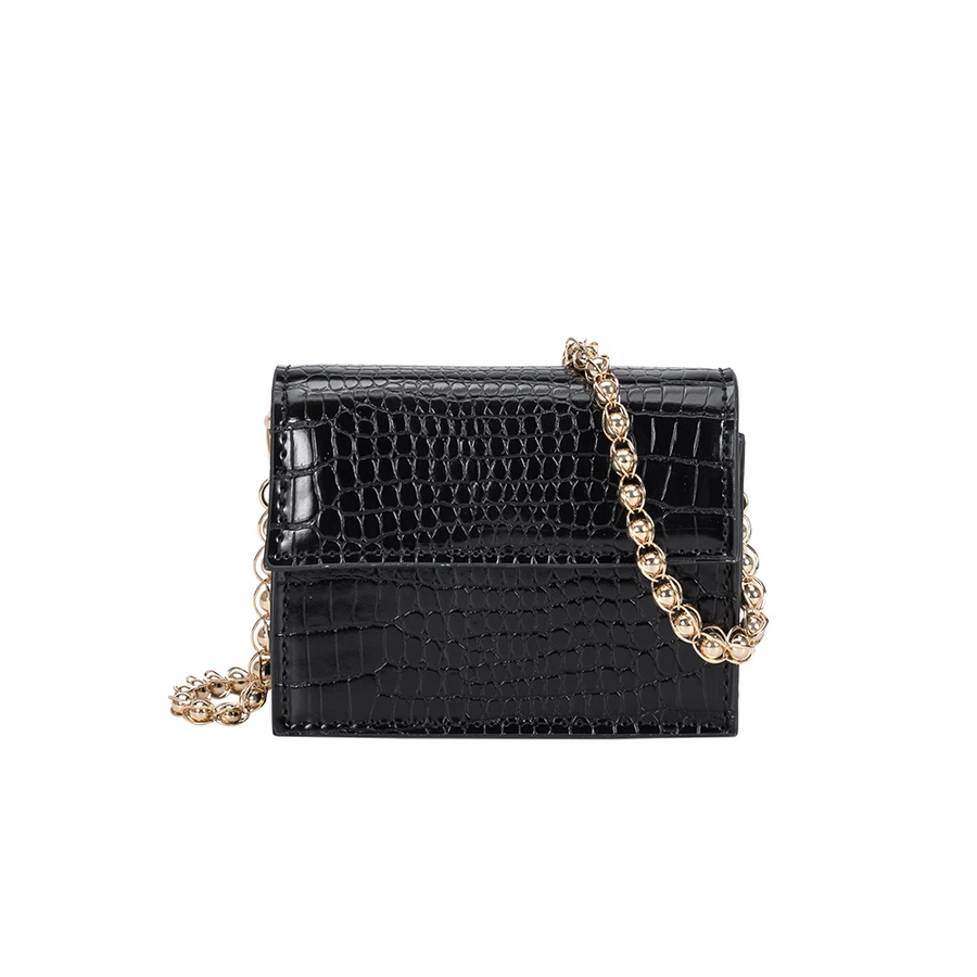 Melie Bianco Bianca Luxury Vegan Leather Mini Crossbody Bag in Black