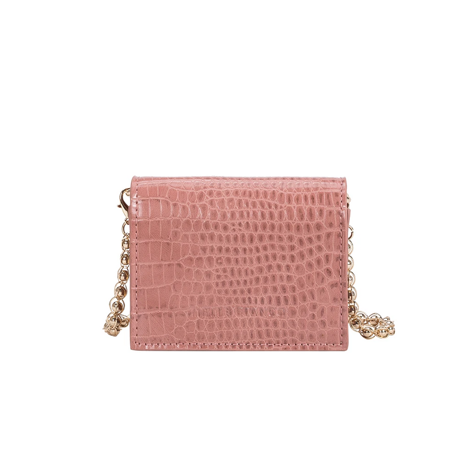 Melie Bianco Bianca Luxury Vegan Leather Mini Crossbody Bag in Blush