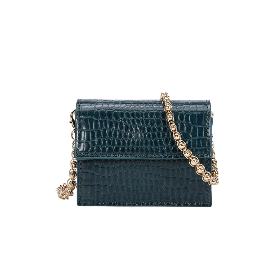 Melie Bianco Bianca Luxury Vegan Leather Mini Crossbody Bag in Green