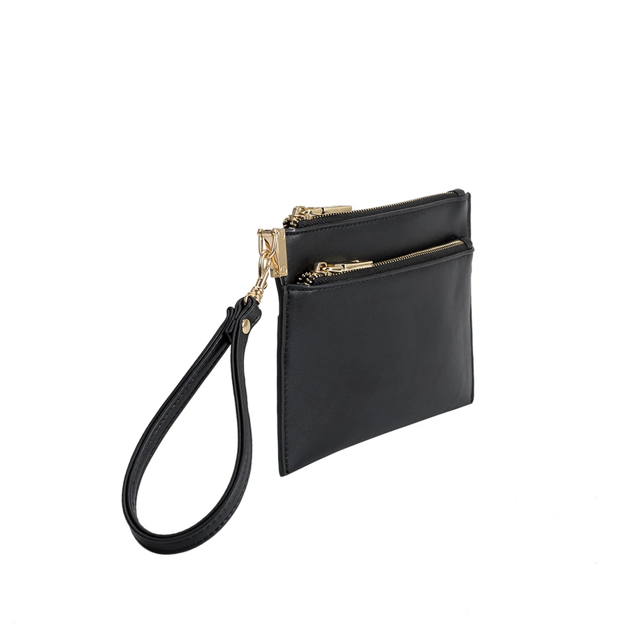 Melie Bianco Bobbie Luxury Vegan Leather Crossbody Wristlet in Black