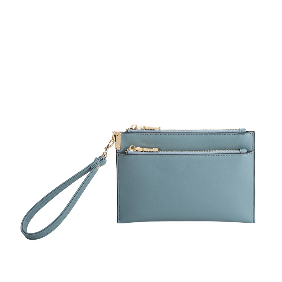 Melie Bianco Bobbie Luxury Vegan Leather Crossbody Wristlet in Slate