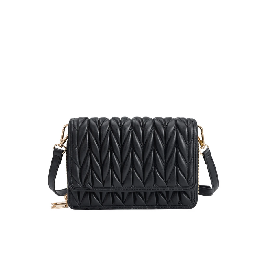 Melie Bianco Giselle Quilted Luxury Vegan Leather Crossbody Bag in Black