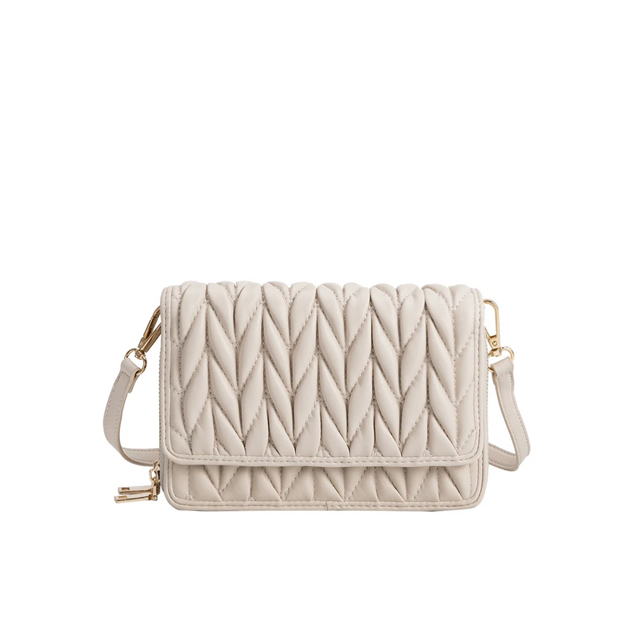 Melie Bianco Giselle Quilted Luxury Vegan Leather Crossbody Bag in Bone