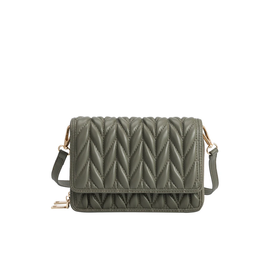 Melie Bianco Giselle Quilted Luxury Vegan Leather Crossbody Bag in Green