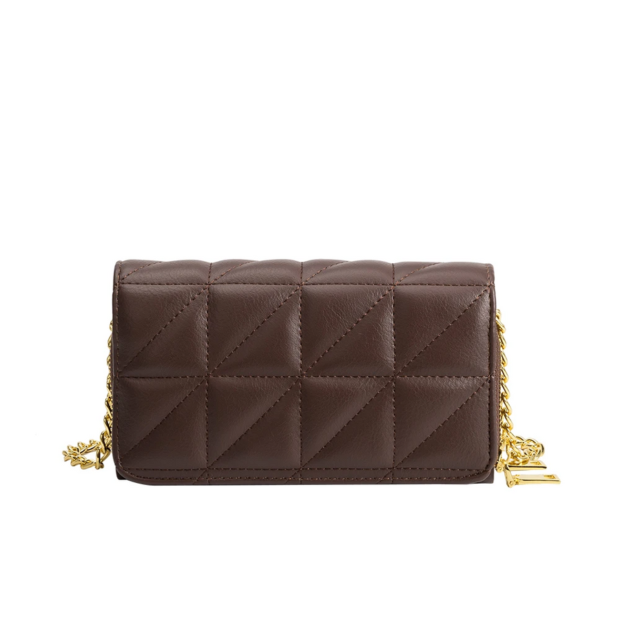 Melie Bianco Brianna Luxury Vegan Leather Quilted Crossbody Bag in Chocolate