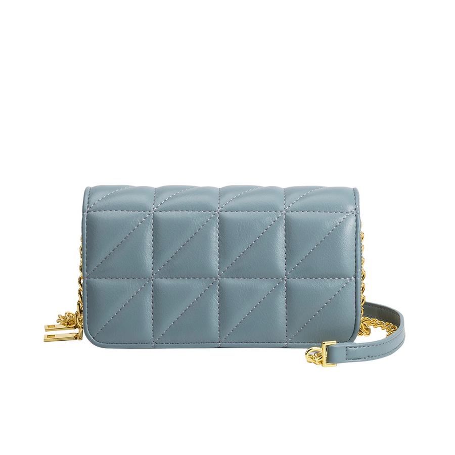 Melie Bianco Brianna Luxury Vegan Leather Quilted Crossbody Bag in Slate