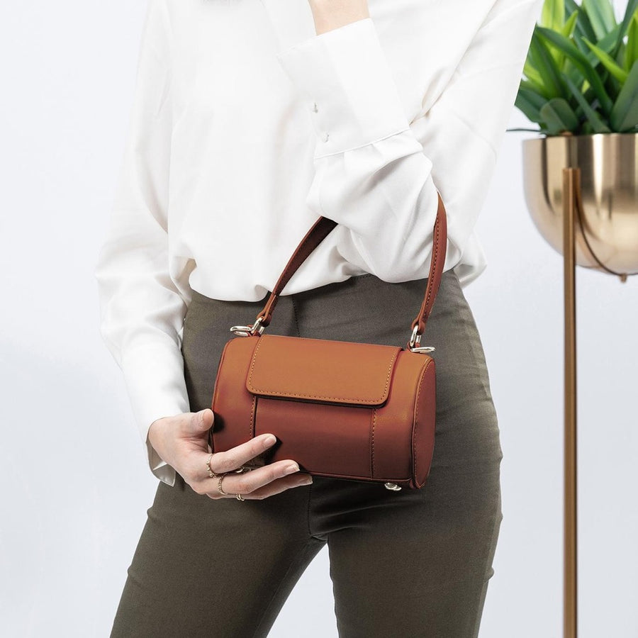 Melie Bianco Luxury Vegan Leather Brooke Crossbody Bag in Saddle