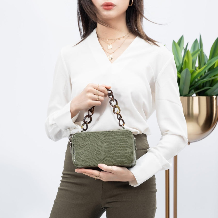 Melie Bianco Luxury Vegan Leather Demi Top Handle Bag in Olive