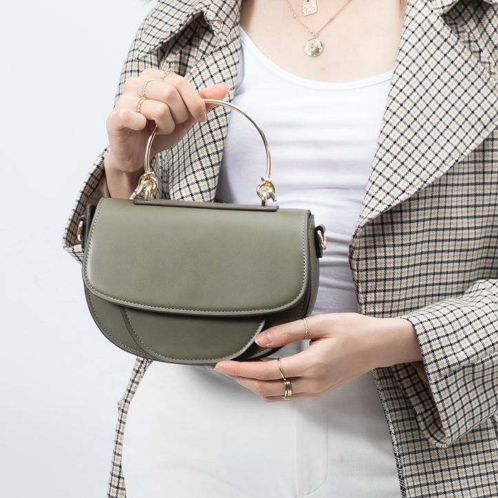 Melie Bianco Luxury Vegan Leather Isabel Top Handle Bag in Olive