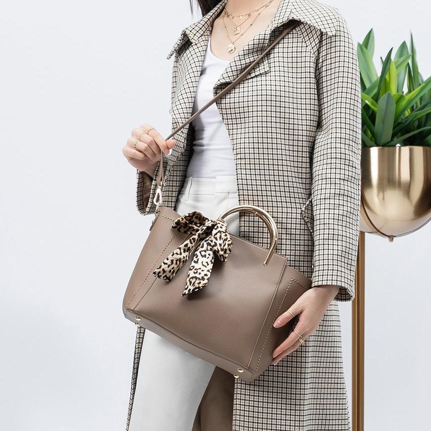 Melie Bianco Sally Luxury Vegan Leather Satchel in Taupe