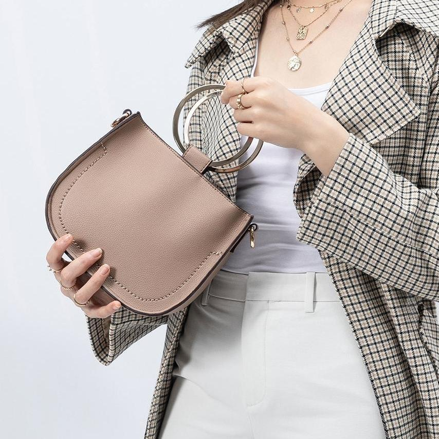 Melie Bianco Terry Luxury Vegan Leather Top Handle in Taupe