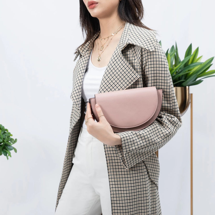 Melie Bianco Luxury Vegan Leather Shelby Crossbody Bag in Blush