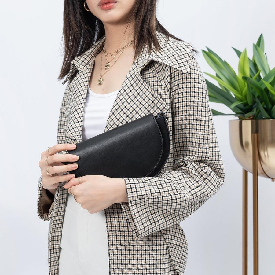 Melie Bianco Luxury Vegan Leather Shelby Crossbody Bag in Black