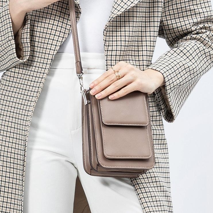 Melie Bianco Luxury Vegan Leather Jesse Crossbody Bag in Taupe