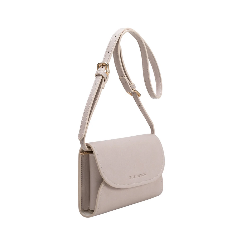 Melie Bianco Luxury Vegan Leather Cleo Small Convertible Belt Bag in Bone