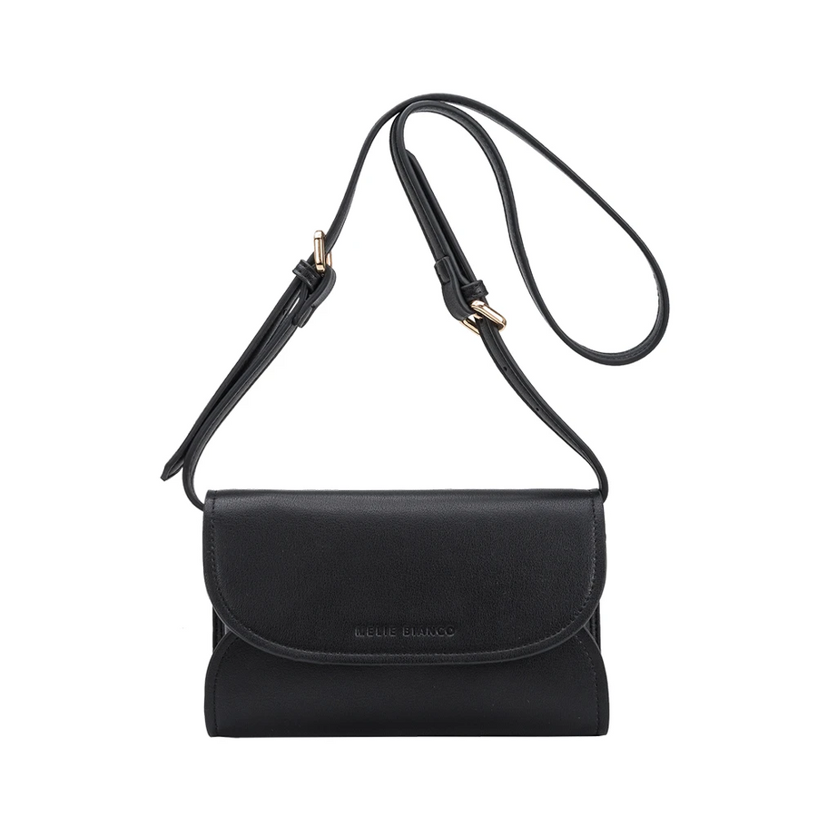 Melie Bianco Luxury Vegan Leather Cleo Small Convertible Belt Bag in Black