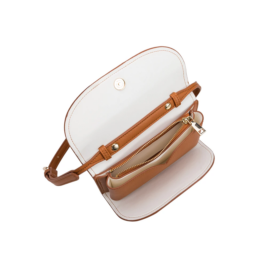 Melie Bianco Luxury Vegan Leather Cleo Small Convertible Belt Bag in Saddle
