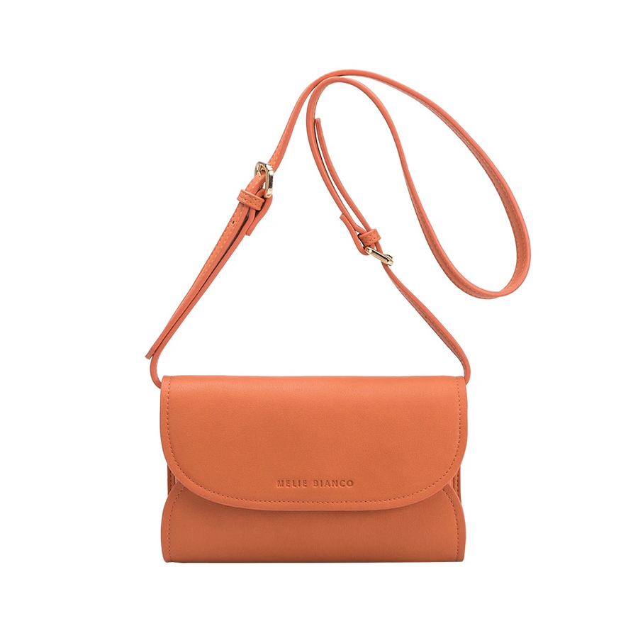 Melie Bianco Luxury Vegan Leather Cleo Small Convertible Belt Bag in Peach