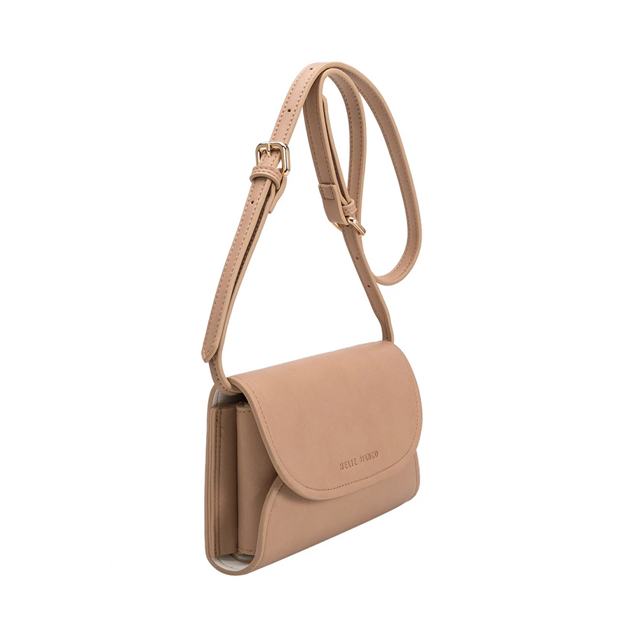 Melie Bianco Luxury Vegan Leather Cleo Small Convertible Belt Bag in Nude