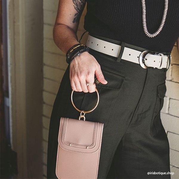 Instagram Influencer wearing Melie Bianco Tess Luxury Vegan Leather Bracelet Handle Crossbody in Taupe
