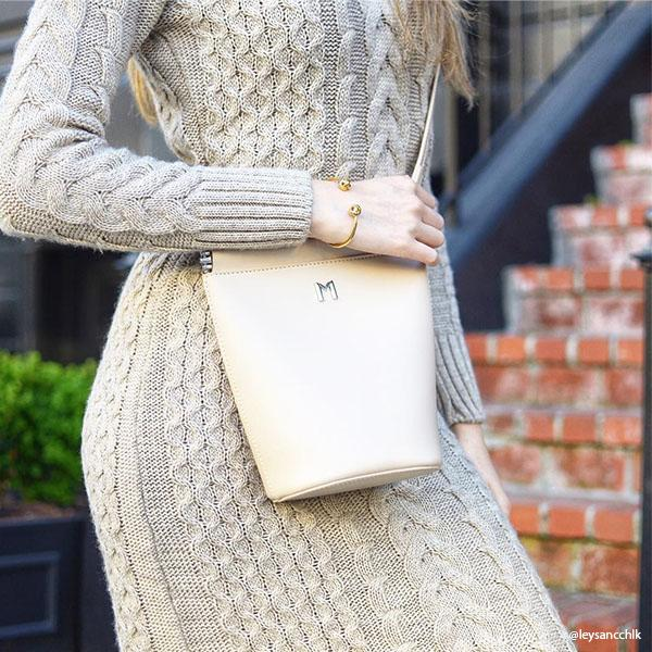 Instagram Influencer wearing Melie Bianco Luxury Vegan Leather Tami Nude Crossbody Handbag Purse