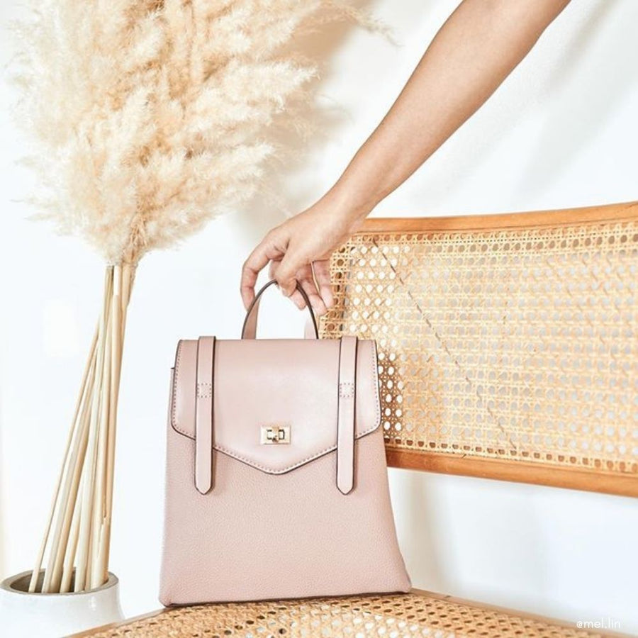 Melie Bianco Luxury Vegan Leather Maxine Backpack in Blush