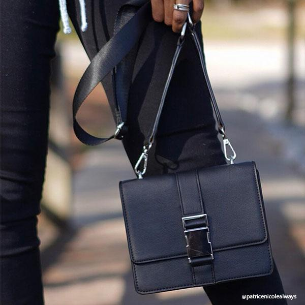 Instagram Influencer wearing Melie Bianco Luxury Vegan Leather Stalking Gia Black Crossbody Belt Bag Purse (785173708891)