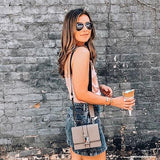 Instagram Influencer wearing Melie Bianco Luxury Vegan Leather Stalking Gia Taupe Crossbody Belt Bag Purse