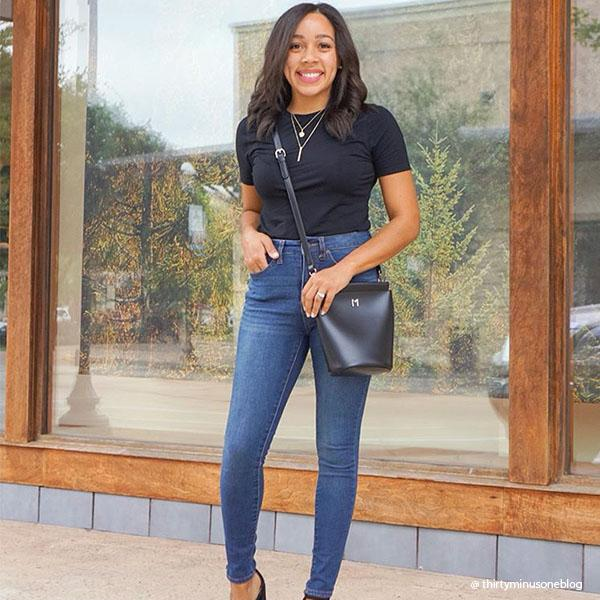 Instagram Influencer wearing Melie Bianco Luxury Vegan Leather Tami Black Crossbody Handbag Purse