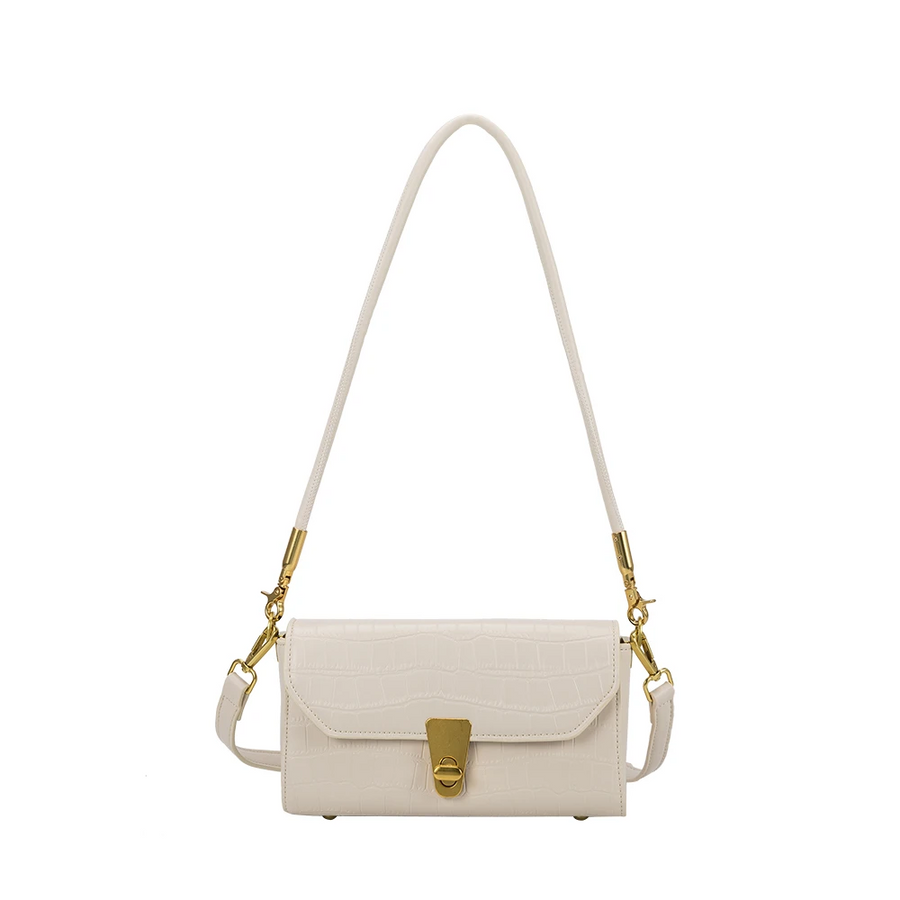 Melie Bianco Luxury Vegan Leather Haley Shoulder Small Bag in Bone
