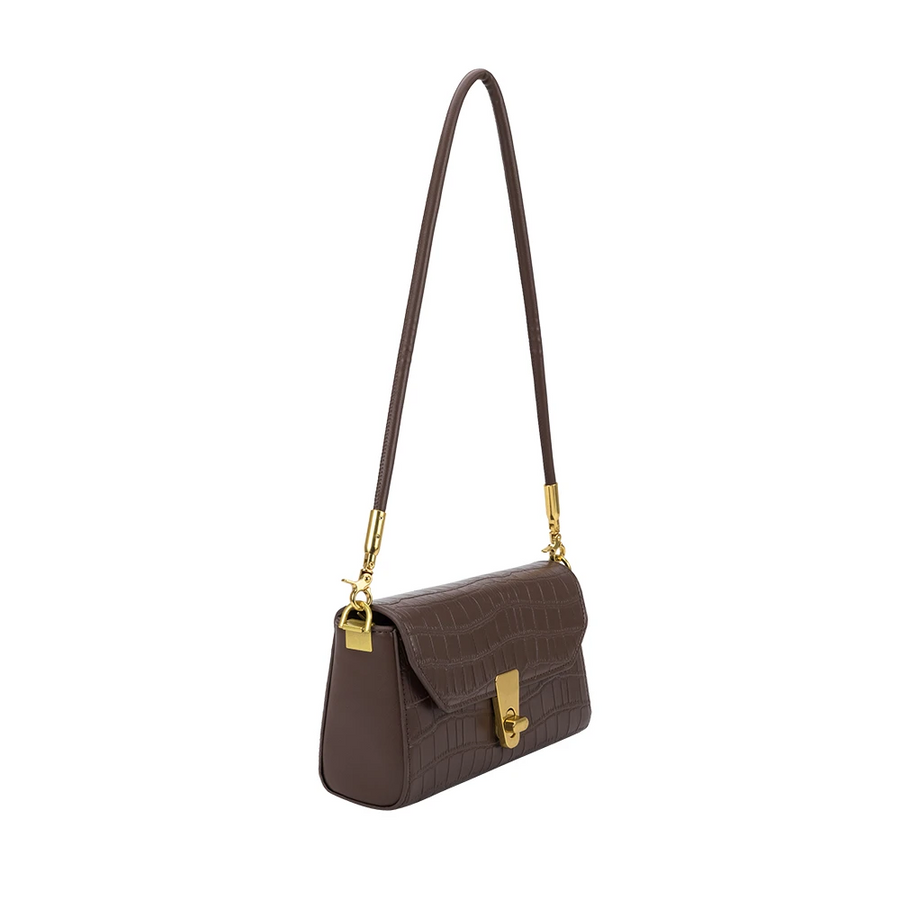 Melie Bianco Luxury Vegan Leather Hayley Chocolate Shoulder Bag in Chocolate