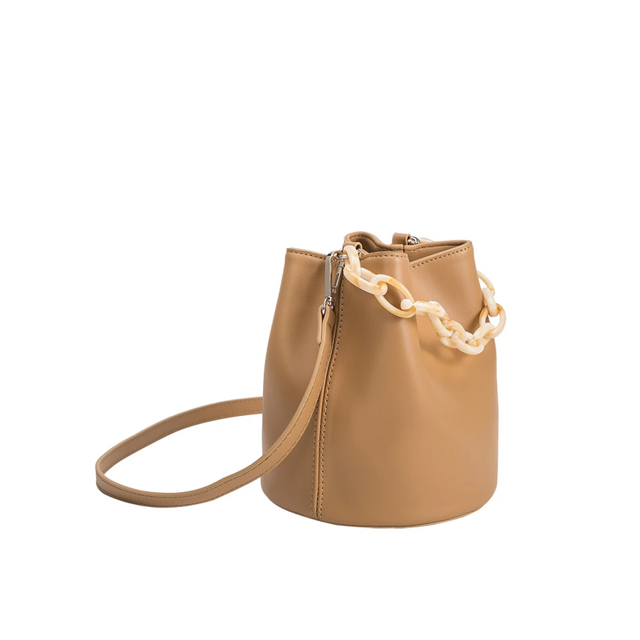 Melie Bianco Luxury Vegan Leather Lana Small Shoulder Bag in Tan