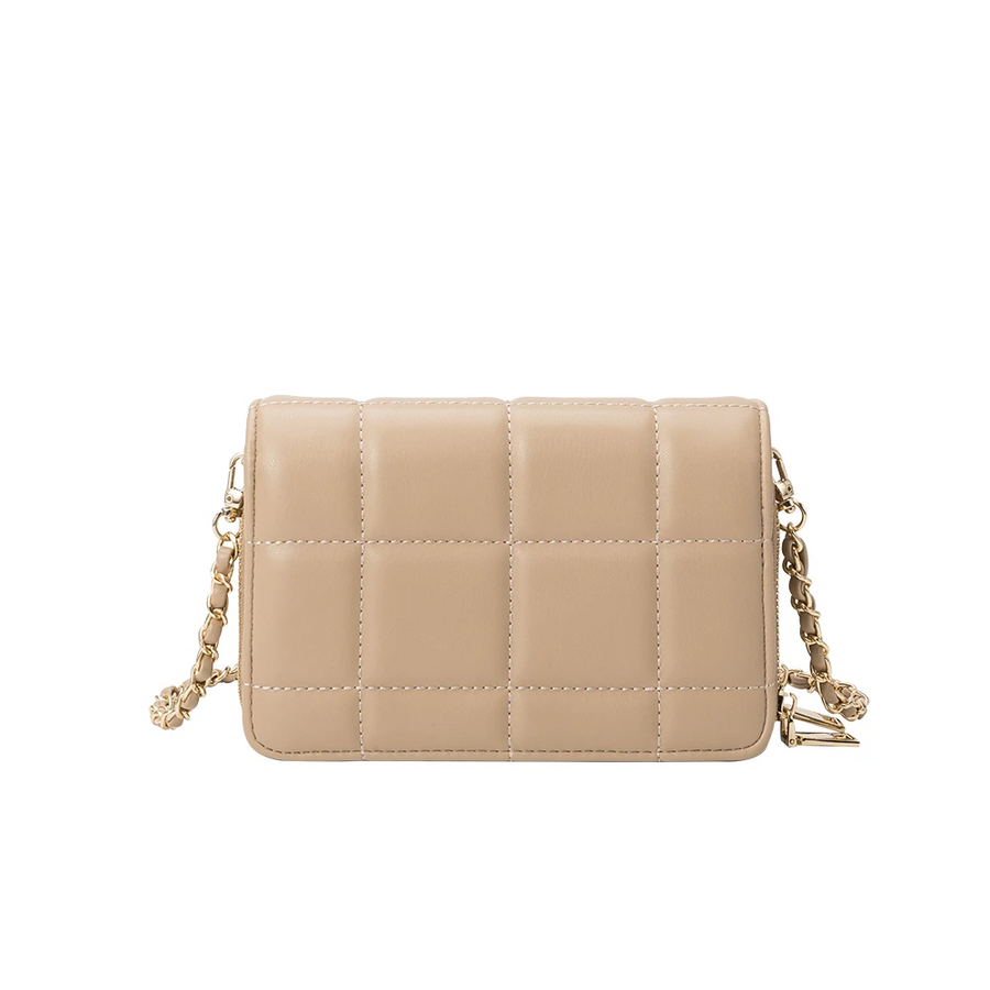 Melie Bianco Luxury Vegan Leather Julianna Small Crossbody Bag in Tan