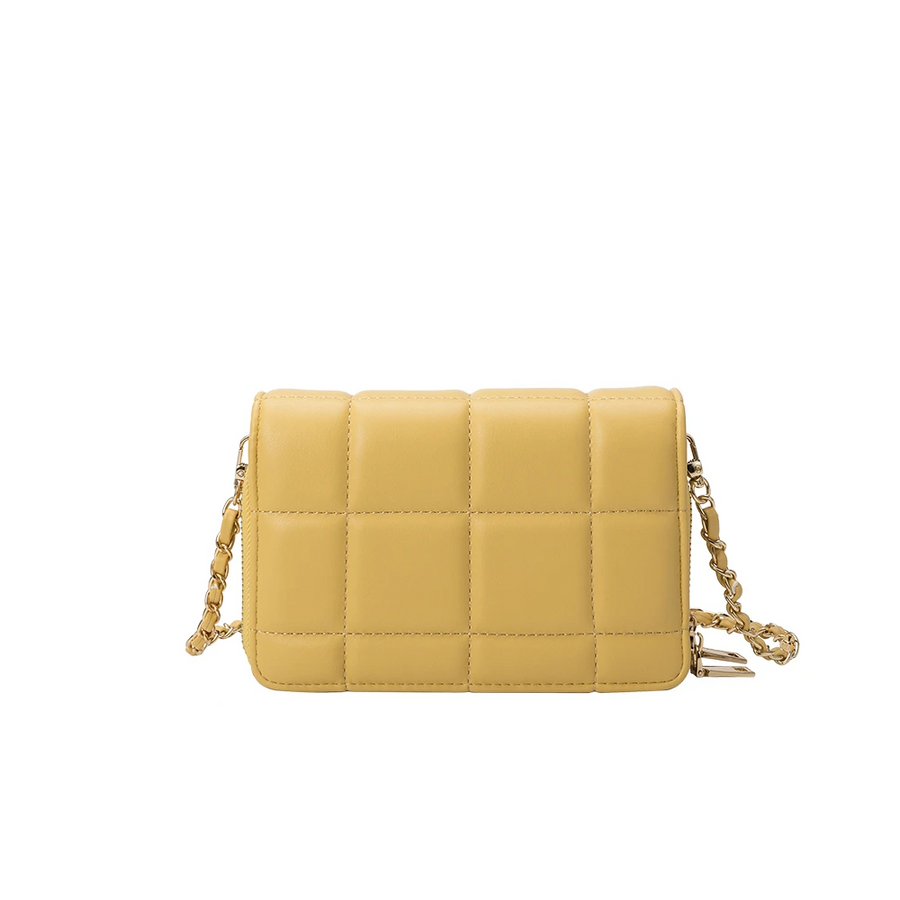 Melie Bianco Julianna Luxury Vegan Leather Crossbody Bag in Yellow