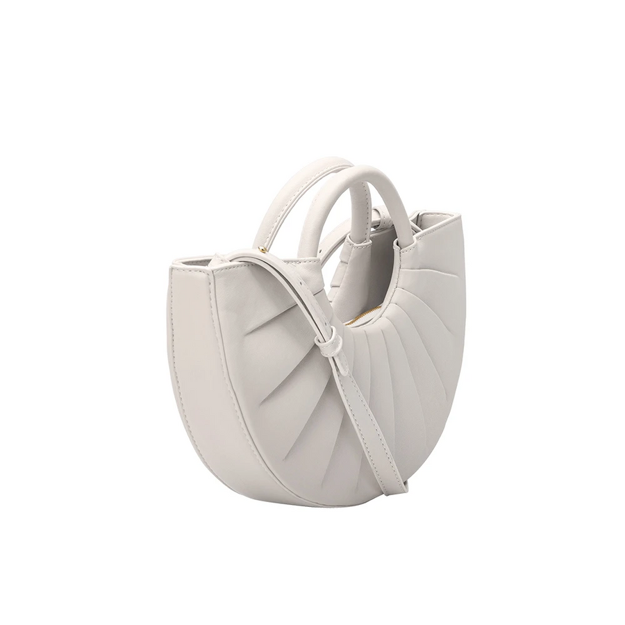 Melie Bianco Luxury Vegan Leather Karlie Small Shoulder Bag in Bone