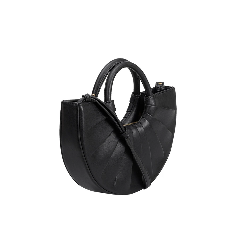 Melie Bianco Luxury Vegan Leather Karlie Small Shoulder Bag in Black
