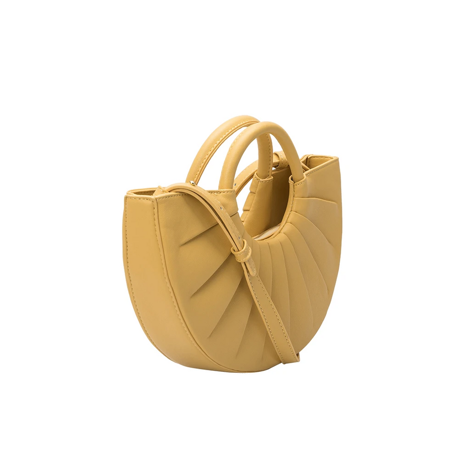 Melie Bianco Luxury Vegan Leather Karlie Small Shoulder Bag in Yellow