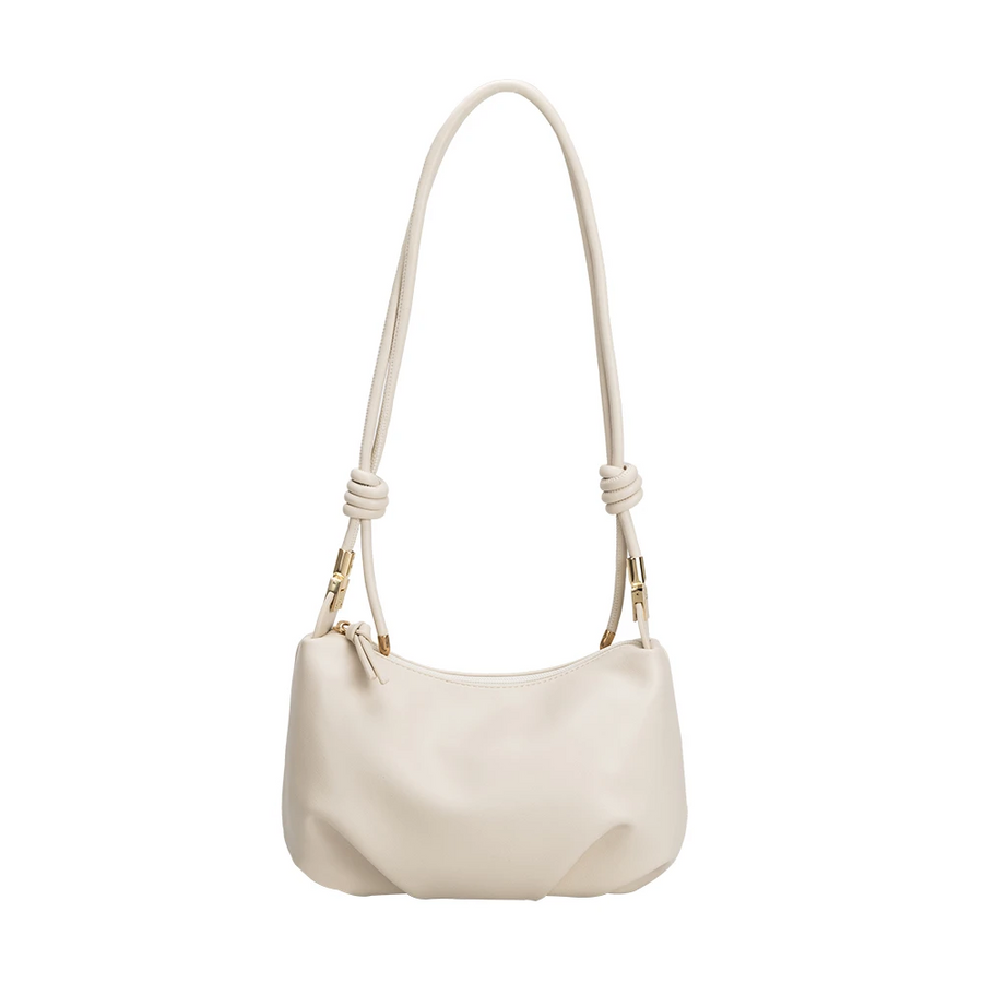 Melie Bianco Luxury Vegan Leather Nadine Medium Shoulder Bag in Bone