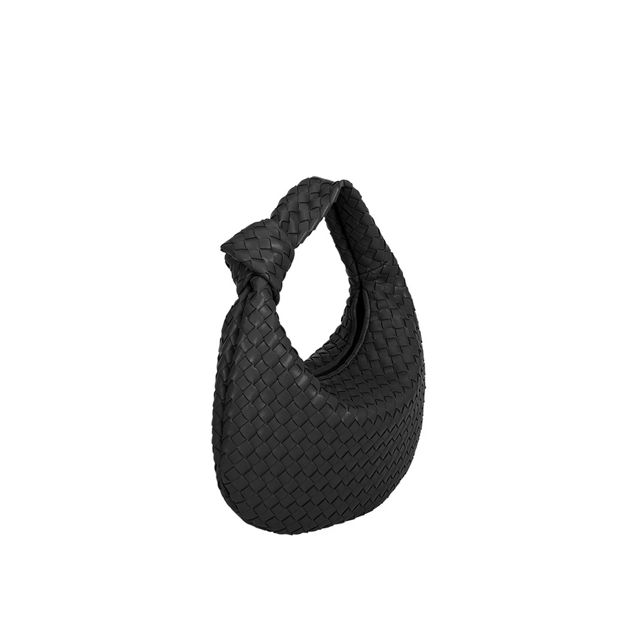 Melie Bianco Luxury Vegan Leather Drew Hobo Shoulder Bag in Black
