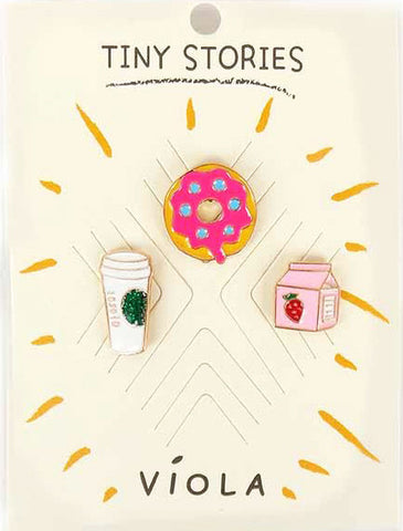 Morning Routine Metal Pin Set - Melie Bianco