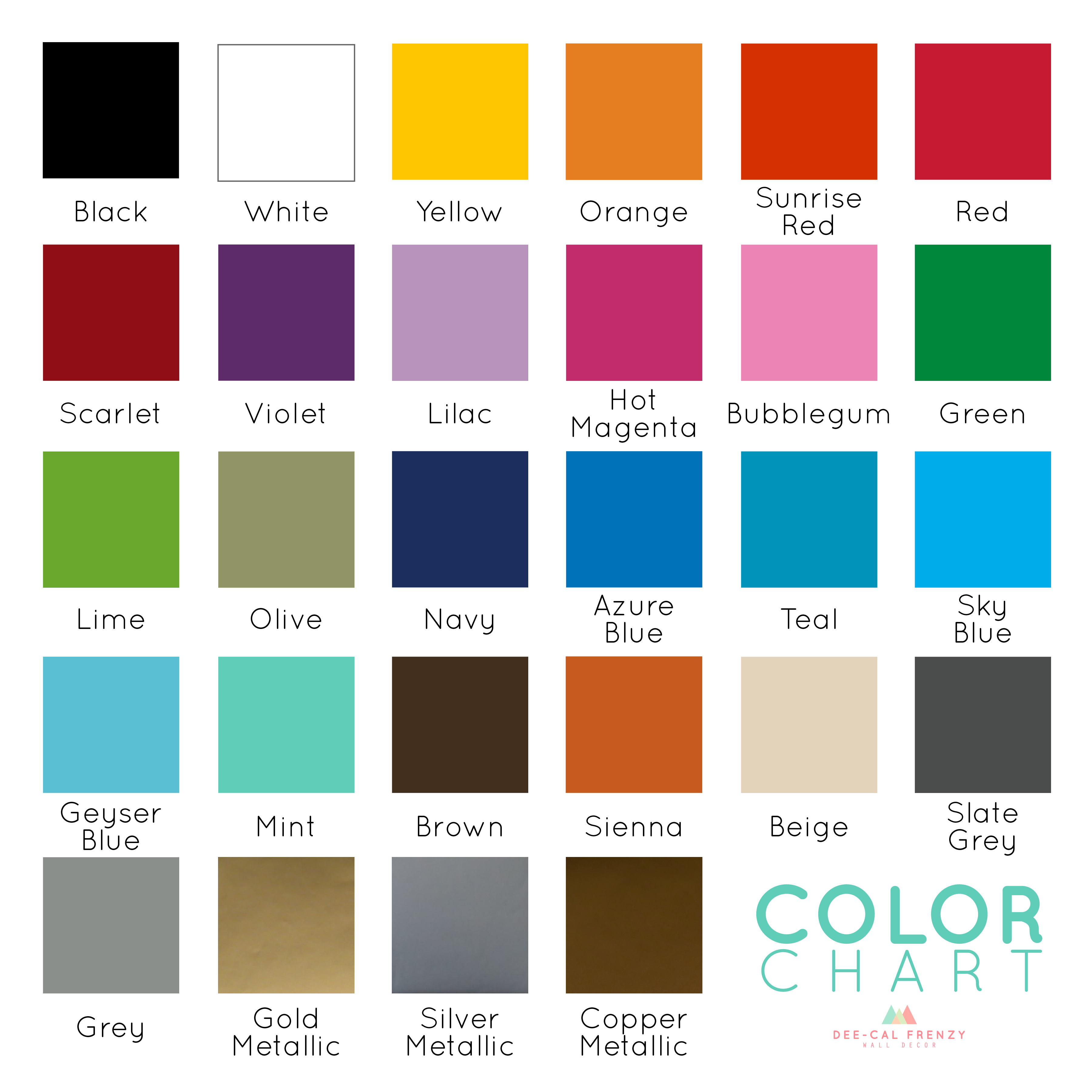 Color Chart U0026 Samples